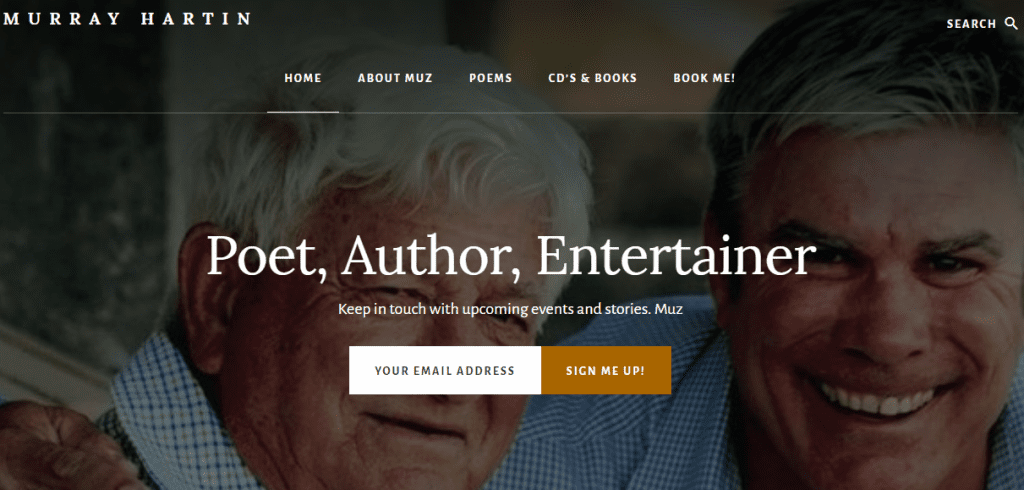 Murray Hartin Poet Entertainer Moree Website by North West Marketing