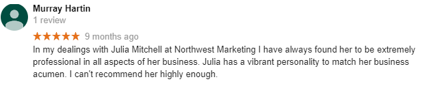 Google Review by Murray Harting for North West Marketing